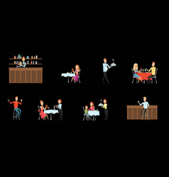 set of people in restaurant and at the bar flat vector image