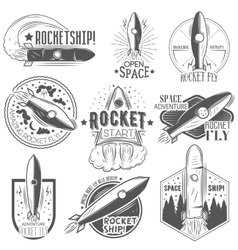 Set of rocket launch labels in vintage vector