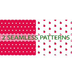 set of two seamless patterns in red color vector image