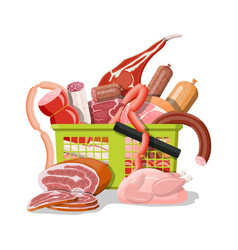 Shopping supermarket basket full meat vector