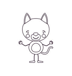 Sketch contour caricature of cute cat tranquility vector
