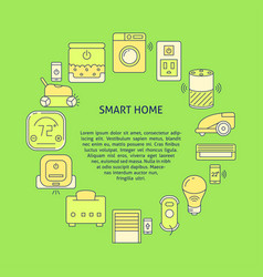 Smart home round banner template in colored line vector