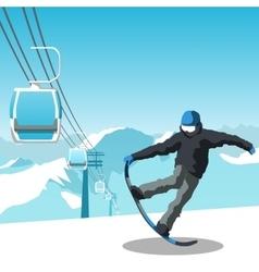 Snowboard and ski resort theme vector