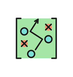 soccer game strategy scheme drawing flat color vector image