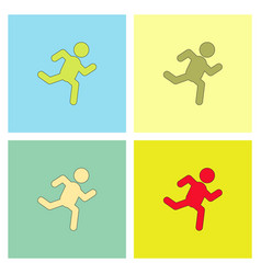 Sprinter icon man run silhouette collection vector