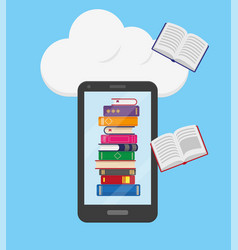 stack books into mobile phone vector image