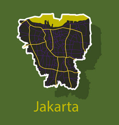 Sticker outline map of the indonesian capital vector