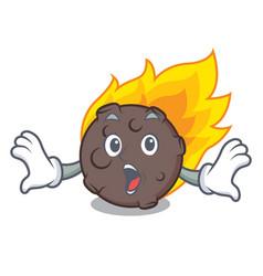 Surprised meteorite mascot cartoon style vector