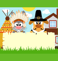 Thanksgiving day background with rabbit dog vector