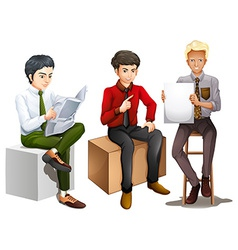 Three men sitting down while reading talking and vector image