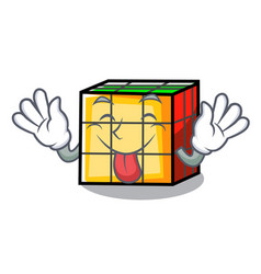 Tongue out rubik cube mascot cartoon vector