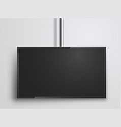 Tv monitor hanging on tube technology and media vector