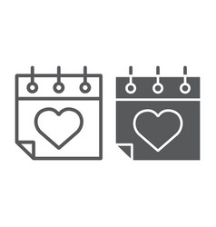 valentines day calendar line and glyph icon vector image