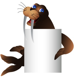 Walrus with blank sign vector