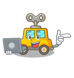 With laptop character clockwork car for toy vector