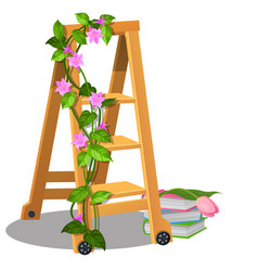 Wooden mobile step ladder is decorated vector