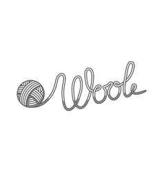 Wool emblem with with ball of yarn label for hand vector