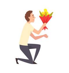 Young man kneeling down with bouquet flowers vector