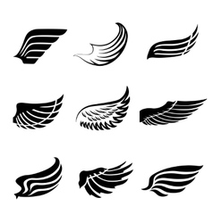 Abstract feather wings icons set vector image vector image