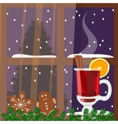 Christmas decorated window with mulled wine vector image