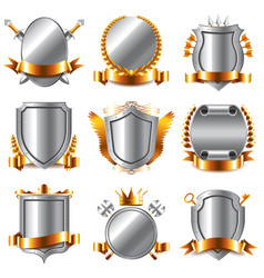 Crests and coat of arms icons set vector image vector image
