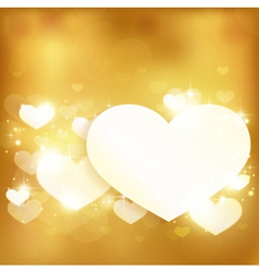 Golden glowing love heart background with lights a vector image vector image
