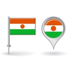 Niger pin icon and map pointer flag vector image vector image