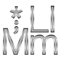 thin diamond metal letters on white 06 vector image vector image