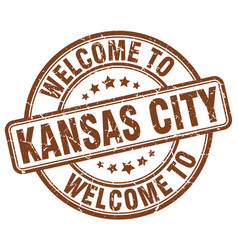 welcome to kansas city brown round vintage stamp vector image vector image