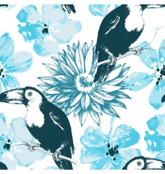 Birds and blue watercolor flowers seamless pattern vector image