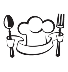 chef hat spoon and fork vector image vector image