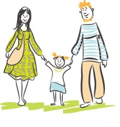 family walk vector image