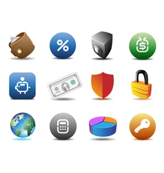 Finance and security icons vector image vector image
