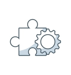 puzzle piece solution with business icon vector image