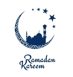 Ramadan Kareem design with mosque and moon vector image