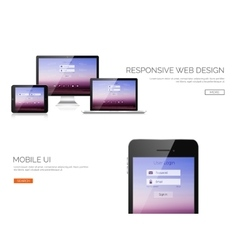 Responsive web design Adaptive user interface vector image vector image