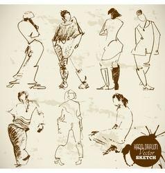 Vintage Abstract Hand Drawn People Sketch vector image vector image