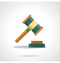 Auction gavel flat color icon vector image