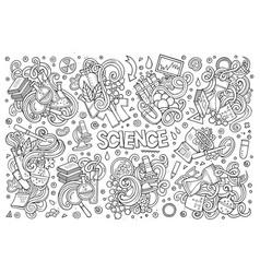 cartoon set of science theme doodles design vector image vector image