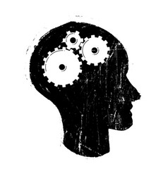 grunge gear in head vector image