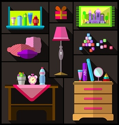 Bedroom for girls A set of furniture and objects vector image vector image