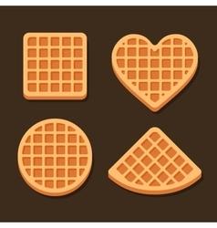 Belgium Waffles Icon Set on Dark Background vector image
