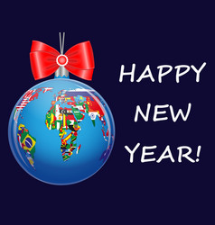 christmas ball with a political map of the world vector image vector image