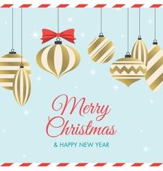 christmas card with christmas balls vector image vector image