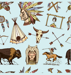 indian or native american seamless pattern vector image