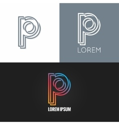 letter P logo alphabet design icon set background vector image vector image