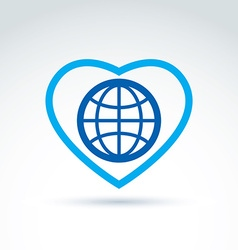 Simple planet icon placed on a heart globe vector image