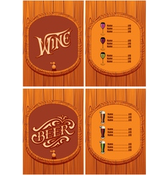 template for the cover of the beer and wine menu vector image vector image