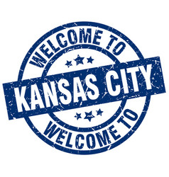 welcome to kansas city blue stamp vector image vector image