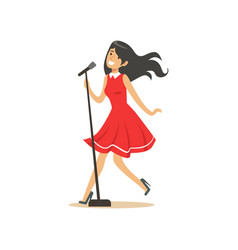 young beautiful brunette girl in red dress singing vector image vector image